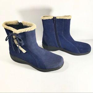 Clark's blue suede booties side zip size 8